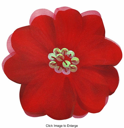 "3.5"" Red Flower Hair Clip with Chiffon Overlay and Sequin Center"