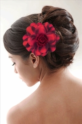 "3.5"" Red Flower Hair Clip with Flower Center"