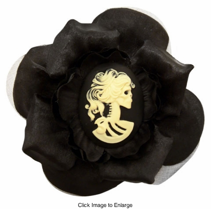 """3.5"""" Silky Flower Hair Clip with Coiffed Zombie Cameo"""