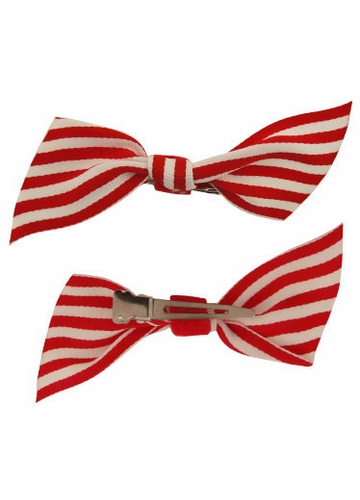 3.5 Stripe Bow Hair Clips Pair