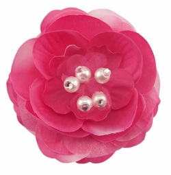 "3.5"" Wedding Flower Hair Clip with Pearls (available in 35 colors)"