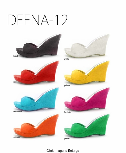 """3.5"""" Wedge Sandals in Vibrant Colors"""