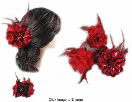 "3.75"" Red Jaw Hair Clip"