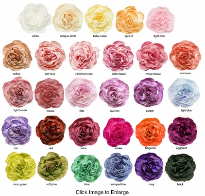 "3"" Crinkle Rose Flower Hair Clips (available in 30 colors)"