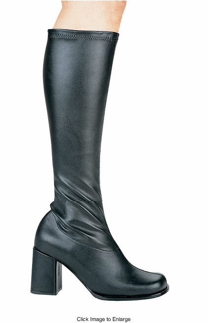 """3"""" Go-go Boots in Black Faux Leather"""