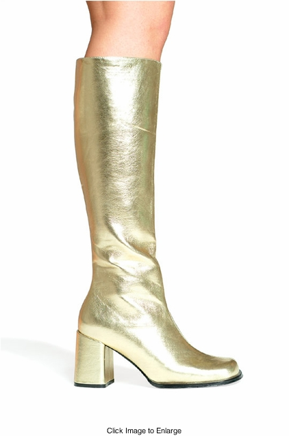 """3"""" Go-go Boots in Gold Faux Leather"""