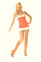 "3"" Go-go Boots in Orange Vinyl Patent  Leather"