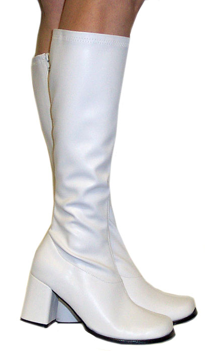 "3"" Go-go Boots in White Faux Leather"
