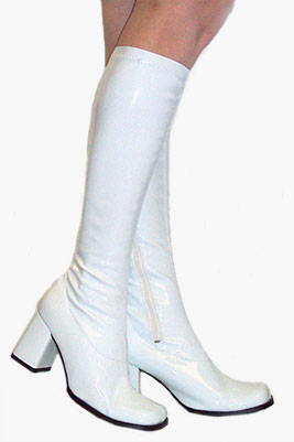 3 Quot Go Go Boots In White Vinyl Patent Leather