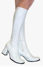 "3"" Go-go Boots in White Vinyl Patent Leather"