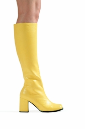 "3"" Go-go Boots in Yellow Faux Leather"