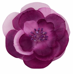 """3"""" Pale Purple Flower Hair Clip with Crystal Center"""