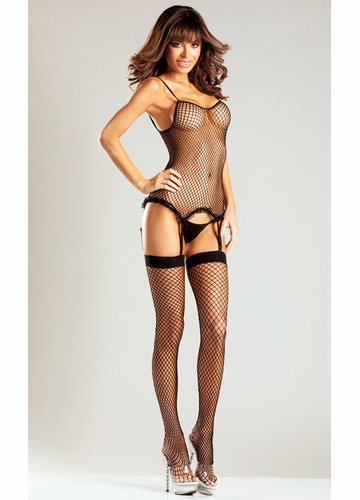 3-Piece Net Cami Garter with Stockings and G-string