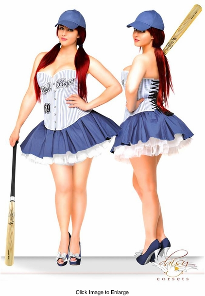 3-Piece Sexy Ball Player Corset Costume