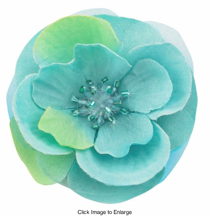 "3"" Turquoise Flower Hair Clip with Crystal Center"