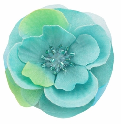 """3"""" Turquoise Flower Hair Clip with Crystal Center"""