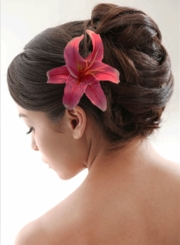 """4.5"""" Almost Alive Lilly Flower Hair Clip in Fuchsia"""