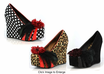 "4.5"" Bettie Page Wedge Pumps Shoes"