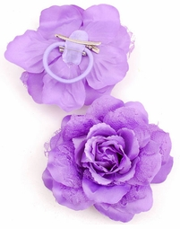"4.5"" Bridesmaid Flower Hair Clip with Lace Accents (6 colors avail)"
