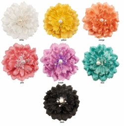 "4.5"" Couture Flower Hair Clip with Crystals and Pearl"