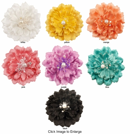 """4.5"""" Couture Flower Hair Clip with Crystals and Pearl"""