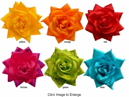 "4.5"" Glittery Rose Flower Hair Clip Claw"