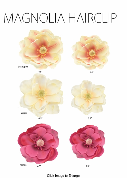 "4.5"" Magnolia Flower Hair Clip in Three Colors"