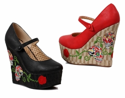 "4.5"" Wedge Mary Jane Shoes with Retro Skull Design"