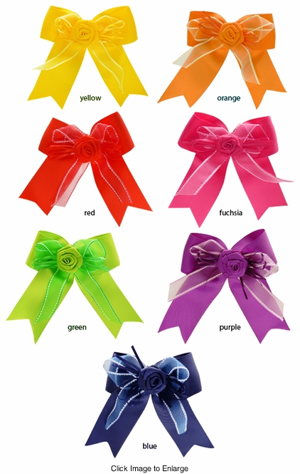 """4"""" Bow and Flower Hair Clip"""