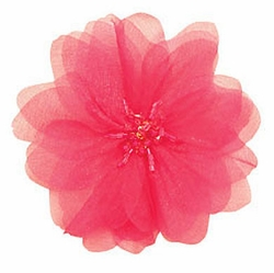 "4"" Chiffon Flower Hair Clip with Beaded Center (24 Colors available)"
