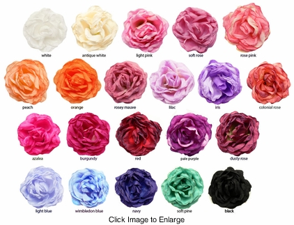 "4"" Crinkle Rose Flower Hair Clip (available in 24 colors)"
