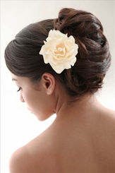 "4"" Embossed Satin Rose Flower Hair Clip with Pearls"
