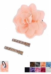 "4"" Flower Pony Tail Hair Clip and Matching Clips"