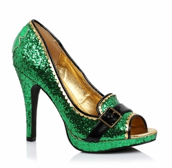 "4"" Green Glitter Peep Toe Shoes for St. Patrick's Day"