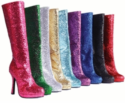 "4"" Knee High Glitter Boots in 9 Colors"