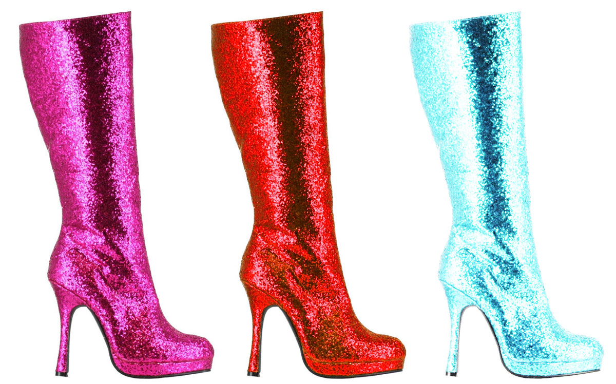 4 quot knee high glitter boots in 9 colors