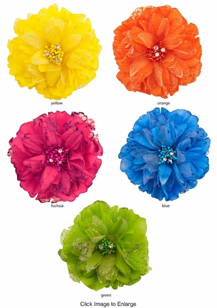 "4"" Lace and Chiffon Flower Hair Clip with Glitter Edges"
