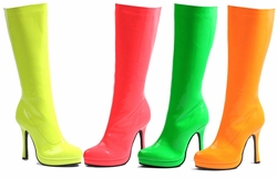 "4"" Stiletto Heel Neon Knee High Boots"
