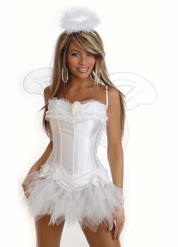 4-Piece Adorable Angel Corset Costume