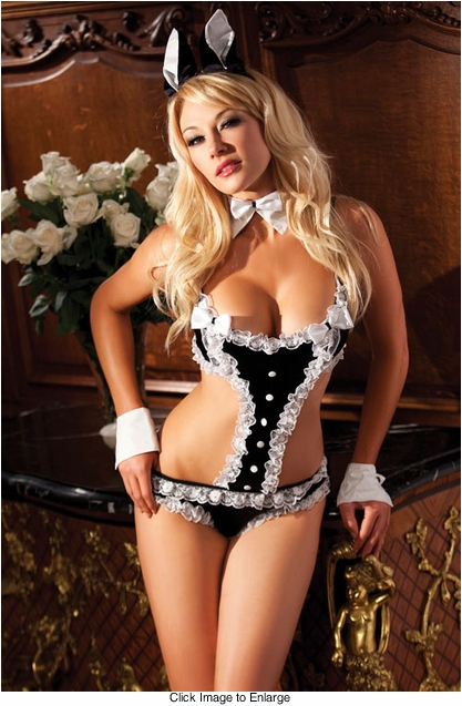 4-Piece Bedroom Bunny Costume with Bodysuit, Ears, Collar and Cuffs