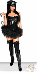 4-Piece Black Sequin Pin-Up Cop Police Costume