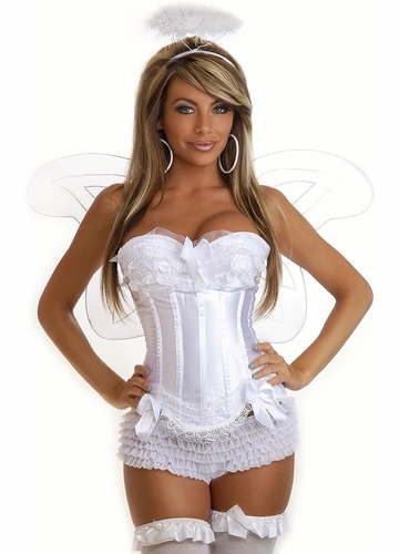 4-Piece Sexy Angel Corset Costume