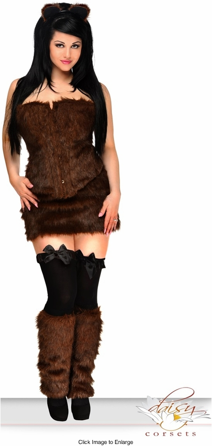 4-Piece Sexy Brown Bear Corset Costume