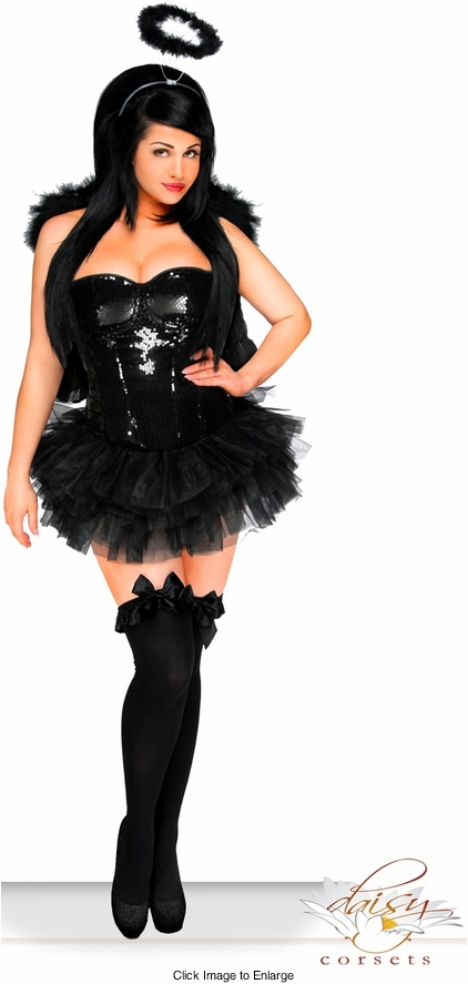4-Piece Sexy Sequin Dark Angel Corset Costume