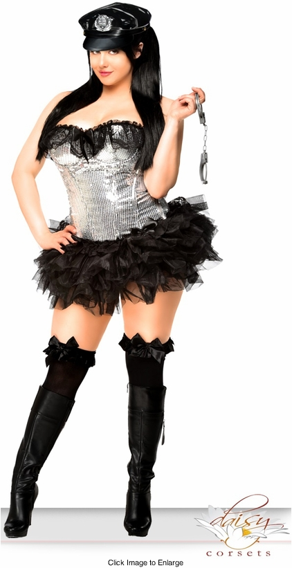 4-Piece Silver Sequin Pin-Up Cop Corset Costume