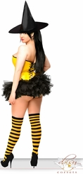 4-Piece  Yellow Candy Pin-Up Witch Costume