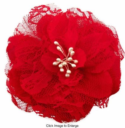 """4"""" Retro Lace Flower Hair Clips in Red"""