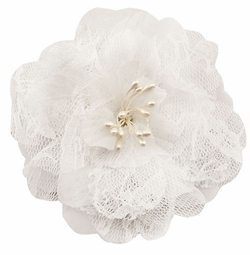 "4"" Retro Lace White Flower Hair Clips"