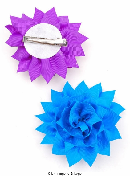 """4"""" Ribbon Flower Hair Clip with Zig-Zag Edge (available in 8 colors)"""