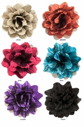 "4"" Satin and Black Tulle Flower Hair Clip"